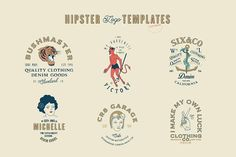 16 Hipster Logo Templates by Liviu on @creativemarket