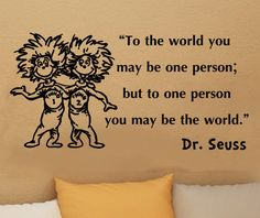 dr suess thing one and thing two bedroom decor | Dr Seuss thing 1 thing 2 to the world inspirational vinyl decal wall ...