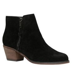 Black suede booties (size 9). I don't mind a little bit of a heel, but I'd rather it be pretty short & chunky (like this one)
