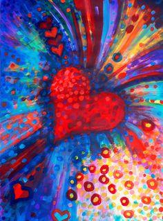 Big, Bold, Colour-Bursting Heart - acrylic painting by Debra Wenlock