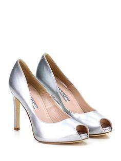 GUGLIELMO ROTTA - Decolletè - Women - Decolletè open toe in pelle specchiata con suola in cuoio. Tacco 100, platform 10 con battuta 90. - SILVER - € 205.00