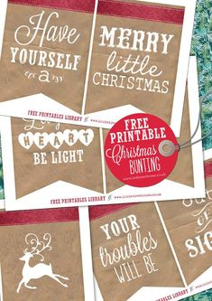 Free Printable Christmas Holiday Bunting Decorations DIY project by In the Treehouse for Love My Dress Wedding Blog