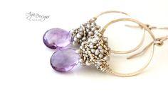 Handmade Jewelry | Hoops in lavender | agajewelrydesigns.com