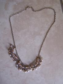 silver necklace with seed pearls free ship