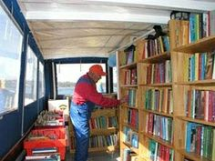 Library boat interior. This floating library visits the isles east of Stockholm twice a year.