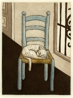 Blue Chair with Cat etching country style farm kitchen Cat Art Print, Cat Wall, Cat Drawing, Les Oeuvres, Light In The Dark, New Art, Printmaking, Illustration Art, Photos