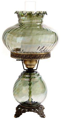 Green Swirl Optic Shade Night Light Hurricane Table Lamp | LampsPlus.com