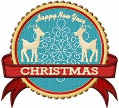 """Two Deer Christmas Label machine embroidery design   $1.00 USD   Sizes:Check Hoop 93 × 86 mm 3.66 × 3.39"""" Stitches: 110 × 102 mm 4.33 × 4.02"""" Stitches: 112 × 104 mm 4.41 × 4.09"""" Stitches: 122 × 113 mm 4.8 × 4.45"""" Stitches: 141 × 130 mm 5.55 × 5.12"""" Stitches:"""