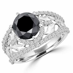 4 CTW Floral Motif Round Cut Black and White Diamond Vintage Engagement Ring in White Gold Black Diamond Wedding Rings, Black Diamond Necklace, Diamond Jewellery, Diamond Rings, Diamond Engagement Rings, Vintage Diamond, Floral Motif, Diamonds, White Gold