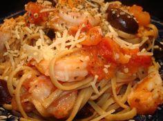 Linguine With Grilled Shrimp and Black Olives