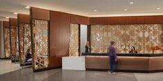 Metal Room Divider, Laser Cut Metal, Reception Design, Perforated Metal, Health Resources, Custom Metal, Unique Colors, Dining Area, Wall Murals