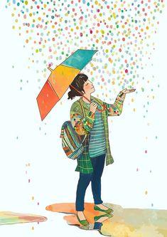 quenalbertini: Rain of Colors by Lidia Puspita, Pinzella des al món Art And Illustration, Character Art, Character Design, Pinterest Instagram, Rain Painting, Umbrella Art, Cute Girl Wallpaper, Dancing In The Rain, Cute Cartoon Wallpapers