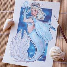 """The waves never bothered anyway"""" Time for mermaid Elsa! By Raquel Trave"""