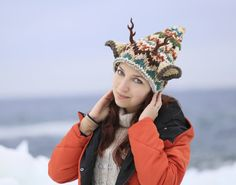 Knit hat deer with horns ears Forest beanie Nymph Headdress elk Antler wreath Festival Adult Wear Druid shaman Toddler Animal Anime Cosplay by ThingsFromShela