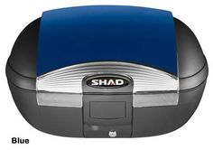 """Shad SH-45 motorcycle top case in blue. Designed to attach to most flat luggage racks. Its dimensions are: 16.1"""" L x 22.2"""" W x 12.3"""" H and has a 45 liter capacity. Your price is $244.95. With Free Shipping."""