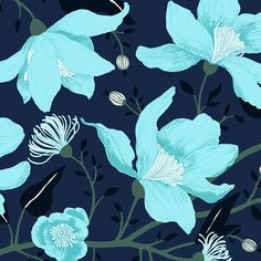 Clematis blue by Tanja Orsjoki - Wallpapers / Tapetit Vallila Interior Finland Wallpaper Direct, Room Wallpaper, Wallpaper Collection, Backgrounds Girly, Room Wall Painting, Turquoise Art, Wood Interior Design, Blue Wallpapers, Phone Wallpapers