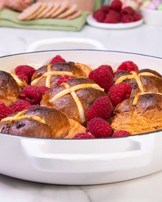 Fancy a delicious pudding to sink your spoon into this Easter? This Hot Cross Bun & Butter Pudding is the perfect dessert — featuring Brumby's New Berry & White Choc Hot Cross Buns. Brownie Ice Cream, Ice Cream Cookies, Delicious Food, Tasty, Cupcake Cakes, Cupcakes, Hot Cross Buns, Cooking Recipes, Healthy Recipes