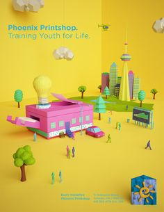 Print Ad created as volunteer for Phoenix, a printshop that trains and help integrating marginalized youth in Toronto. Art Direction and 3D Illustration.