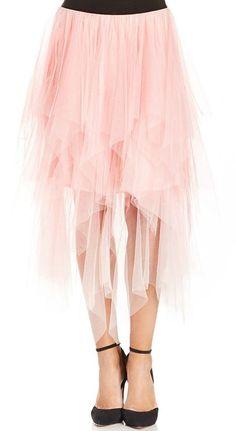 Pink Mesh Asymmetrical Skirt