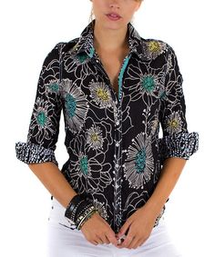 This Black & Turquoise Floral Button-Up is perfect! #zulilyfinds