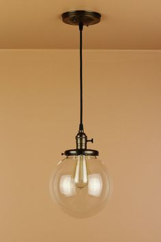 Pendant Light - 8 inch Clear Glass Globe - Antique Style Cloth Wire - Edison Light Bulb - Handfinished in Oil Rubbed Bronze