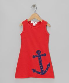 Another great find on #zulily! Red & Navy Anchor Swing Dress - Infant, Toddler & Girls #zulilyfinds