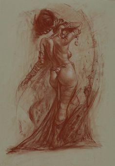 Moratorium, in Patrick Wilshire's IX Gallery - Figures from Life: The Drawings of Patrick Jones Comic Art Gallery Room Fantasy Art Women, Dark Fantasy Art, Fantasy Artwork, Human Anatomy Drawing, Anatomy Art, J Jones, Comic Kunst, Fantasy Kunst, Sword And Sorcery