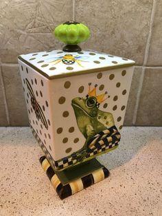 MY OWN wood Storage Box with MacKenzie-Childs Decoupage - Frog & Checks #ForgetMeNaught