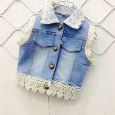 Girls Summer Outfits, Kids Outfits, Cool Outfits, Ivy Fashion, Fashion Outfits, Denim Vests, Kids Dress Wear, Baby Dress Patterns, Toddler Girl Style