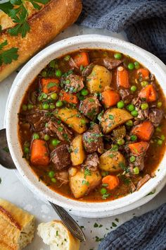 Slow Cooker Beef Stew - Cooking Classy--must make---- Healthy Crockpot Recipes, Beef Recipes, Chicken Recipes, Cooking Recipes, Slow Cooking, Slow Cooker Beef, Slow Cooker Recipes, Tzatziki, White Bowl