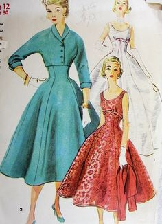 1950s EMPIRE STYLE EVENING COCKTAIL DRESS GOWN, JACKET PATTERN  SIMPLICITY 4782