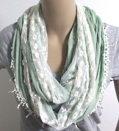 Mint Green Lace Scarf Two Tone Scarf with Lace by LemniscateAddict, $23.99