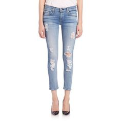 Rag & Bone Distressed Cropped Skinny Jeans (3.519.730 IDR) ❤ liked on Polyvore featuring jeans, apparel & accessories, shred, ripped skinny jeans, super skinny jeans, cropped jeans, destroyed skinny jeans and distressed skinny jeans