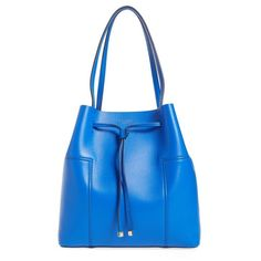 Women's Tory Burch 'Block-T' Leather Drawstring Tote ($425) ❤ liked on Polyvore featuring bags, handbags, tote bags, cobalt blue, blue leather tote, blue leather handbags, genuine leather tote, tory burch tote and blue tote bag