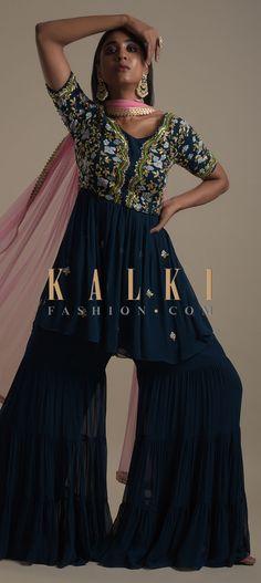 Teal Blue Sharara Suit With Peplum Kurti With Gotta And Colorful Thread Embroidery Online - Kalki Fashion Skirt Fashion, Hijab Fashion, Fashion Outfits, Sharara Suit, Salwar Suits, Anarkali, Lehenga, Embroidery Online, Embroidery Designs