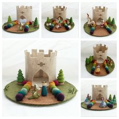 Rainbow Castle Playscape wool felt play mat - imagination play storytelling storybook fairytale dollhouse peg doll princess imagination by MyBigWorld2015 on Etsy