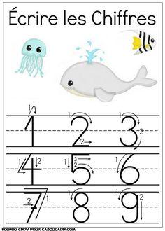 apprendre à écrire les chiffres et nombres en classe de maternelle avec des fiches plus de fiches ici : http://www.caboucadin.com/apprendre-ecrire-chiffres-maternelle.php