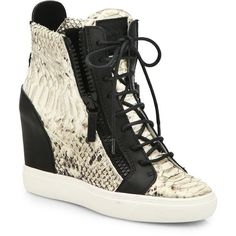 Giuseppe Zanotti Python & Leather Wedge Sneakers ($895) ❤ liked on Polyvore featuring shoes, sneakers, apparel & accessories, platform wedge sneakers, wedged sneakers, hidden wedge sneakers, leather platform sneakers and black leather sneakers