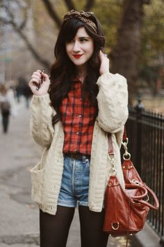 Tights, shorts, and flannel - 10 Ways to Style: Knit Cardigan