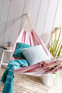 Relax inspiration shared by ♥Enjoy♥life♥ on We Heart It Indoor Hammock, Hammock Swing, Outdoor Rooms, Outdoor Living, Outdoor Decor, Pastel Home Decor, Pergola, Pastel House, Relax