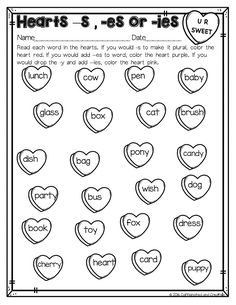 Have students practice finding if they should add -s, -es or -ies to a word. After reading each candy heart, they color it according to the code. Perfect for Valentine's Day! Part of a February Literacy and Math No Prep Bundle for Second Grade.