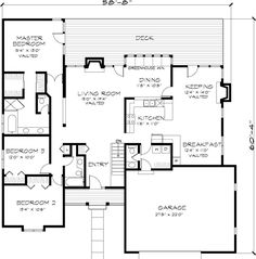 Might work!  First Floor Plan of Country   House Plan 51040