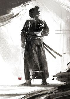 Wonderful Black Ink Samurai Tattoo Design By Juhani Jokinen