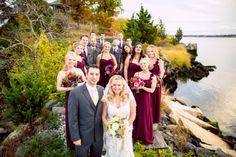 The #weddingparty looks #bold + #beautiful by the #waters + #gorgeous #fall #foliage! ::Michaela + Dustin's bold + bright wedding at the Squantum Association in East Providence, Rhode Island:: #rhodeislandwedding #realweddings #weddingphotographer #bridalparty #squantumassociation @Debora Smith Association
