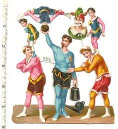 Victorian Circus Acrobat Performer Strongman Die Cut