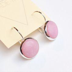 Pink Drop Earrings Pink Lever Back Earrings by ClaudiaMadeThis