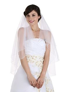 2T 2 Tier Beaded Edge Bridal Wedding Veil Fingertip Length 36 Ivory *** To view further for this item, visit the image link.-It is an affiliate link to Amazon.