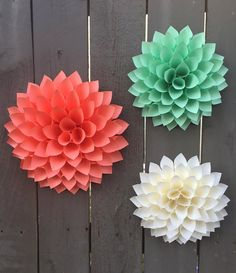 Paper Flower Dahlias - Cream - Coral - Mint Green - 3D Wall art paper flowers, home, baby shower weddings Your choice of paper colors.
