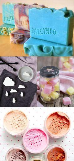 DIY Bath and Body Pinterest Favorites - DIY Mineral Makeup Foundation, DIY Custom Soap Stamps, DIY Cloud Soaps and DIY Lemon Peel Sugar Scrub Cubes
