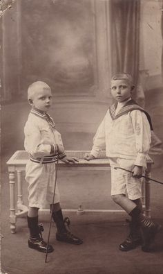 Antique French 1900 Photography  black and white 2 boys wearing navy suits